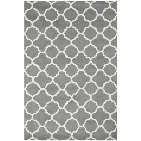 Averett Hand-Tufted Wool Dark Gray/Ivory Area Rug by Brayden Studio