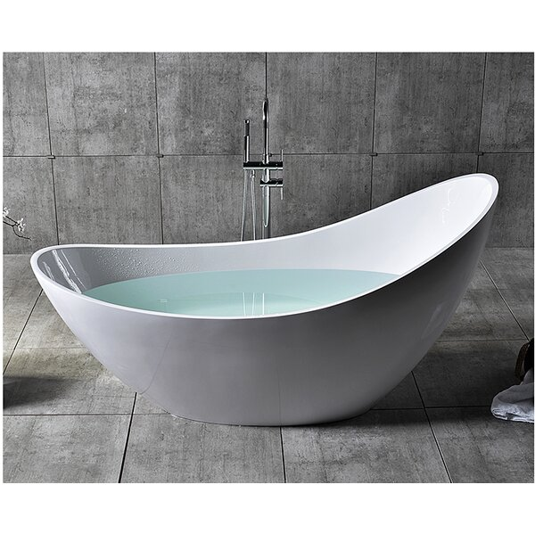 Solid Surface Smooth Resin 73 x 30.75 Freestanding Soaking Bathtub by Alfi Brand