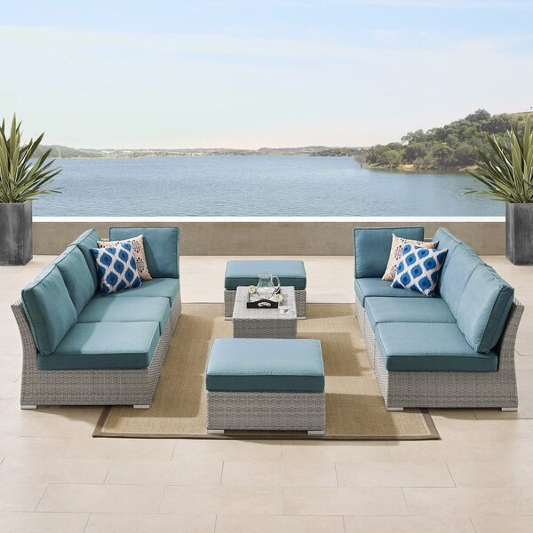 Luz 10 Piece Rattan Sectional Seating Group With Cushions by Rosecliff Heights