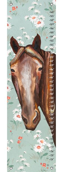 Keid Horse Floral Canvas Growth Chart by Harriet Bee