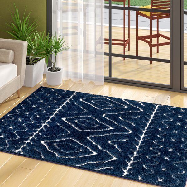 Marketfield Soft Boho Shag Blue Area Rug by Wrought Studio