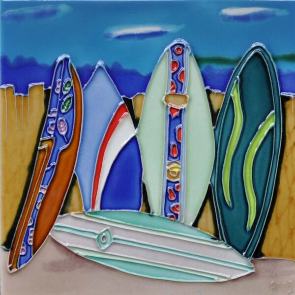 Surfboard 2 Tile Wall Decor by Continental Art Center