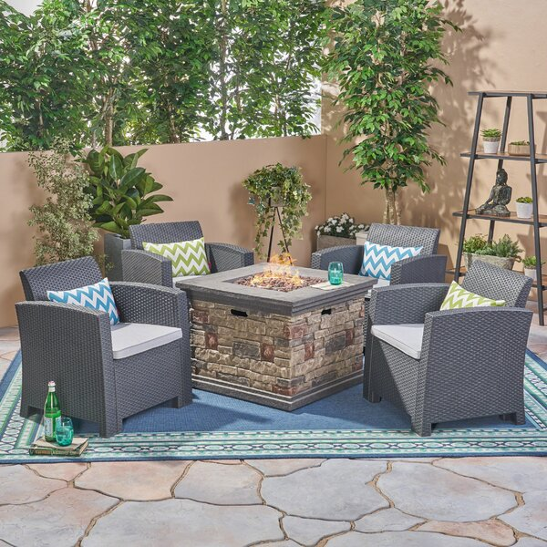 Magallon 5 Piece Rattan Sofa Seating Group with Cushions by Brayden Studio