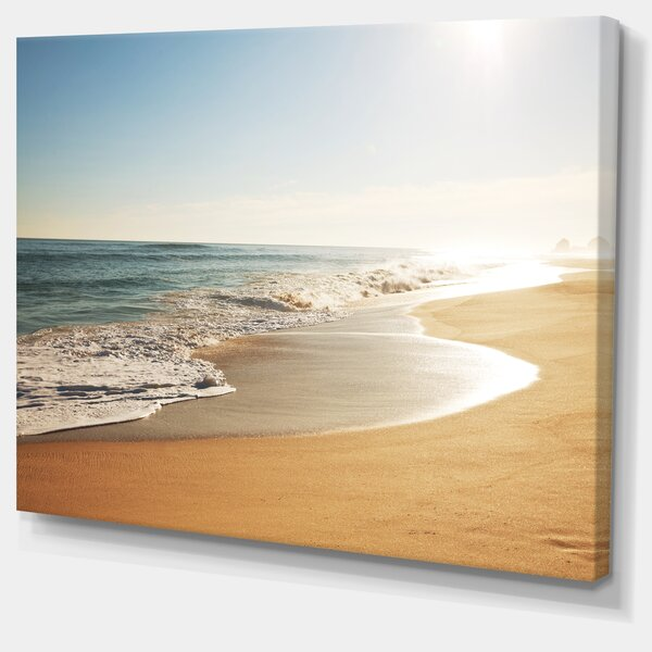 Wide Seashore with Crystal Waters Modern Beach Photographic Print on Wrapped Canvas by Design Art