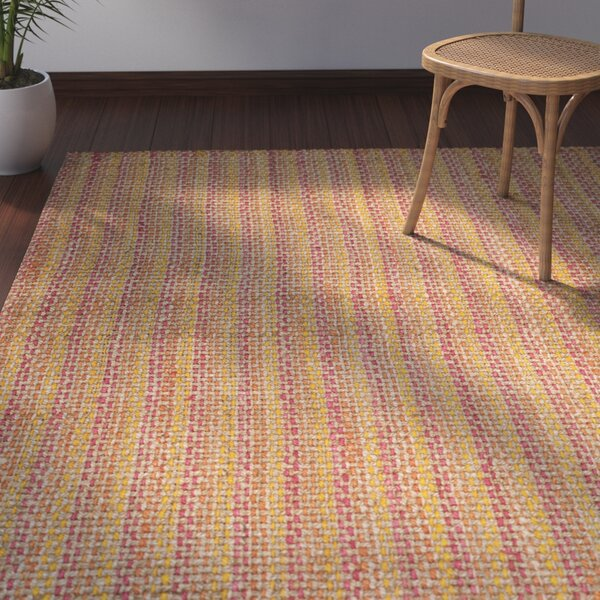 Neta Hand-Woven Pink/Yellow Area Rug by Bay Isle Home