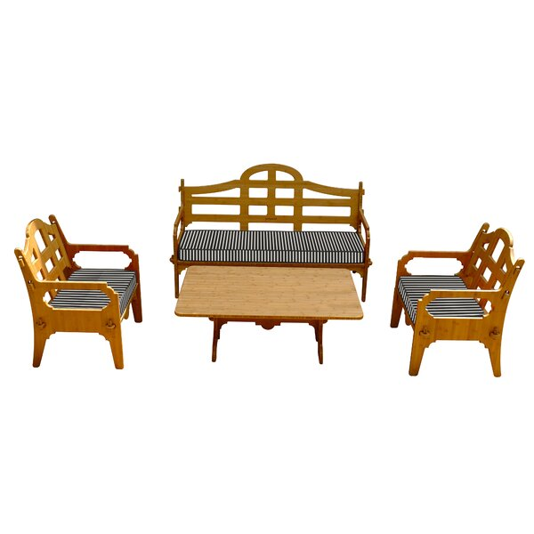 Burliegh 4 Piece Sofa Set with Cushions by Loon Peak