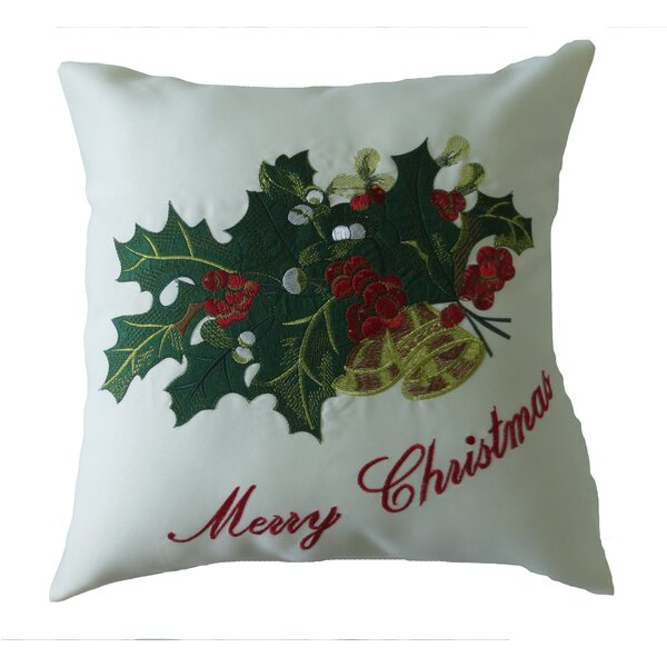 Decorative Embroidered Merry Christmas with Applique Holly and Berries Design Throw Pillow by Violet Linen
