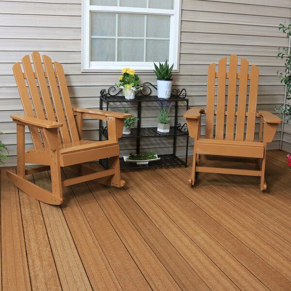 Goldrick Classic Solid Wood Rocking Adirondack Chair (Set of 2) by Latitude Run Latitude Run