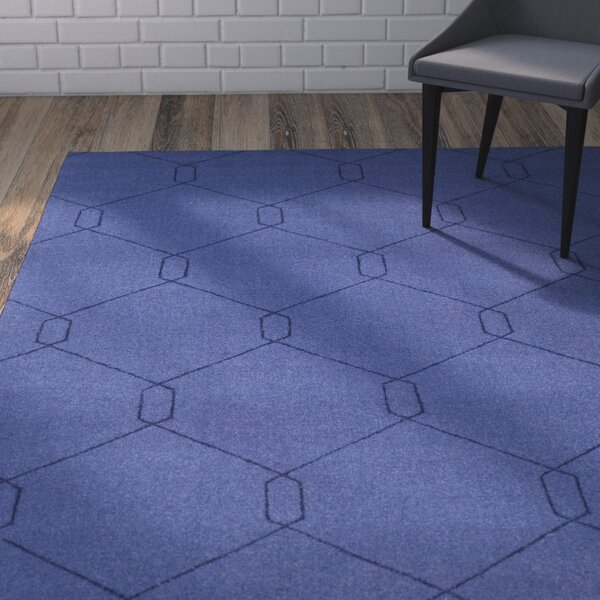 Belle Hand-Woven Dark Blue Area Rug by Wrought Studio