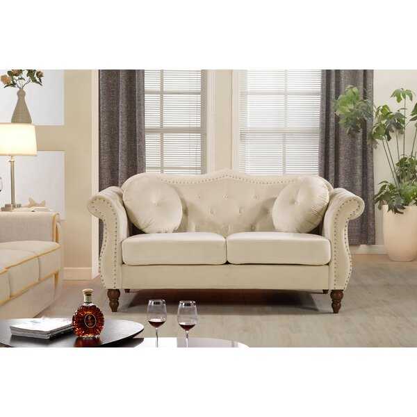 New Look Style Bellbrook Classic Nailhead Chesterfield Loveseat by Rosdorf Park by Rosdorf Park