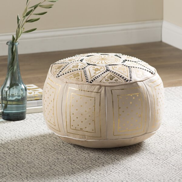 Review Carnuel Moroccan Leather Pouf