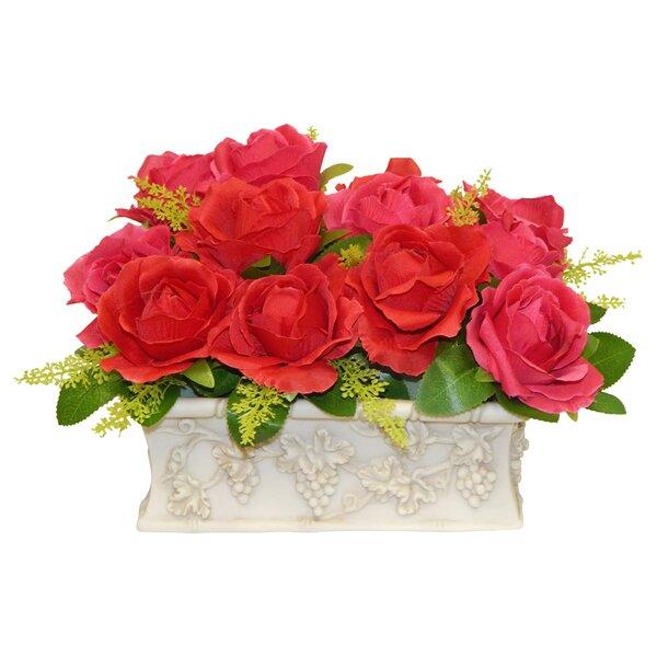 Rose Centerpiece in Planter by Fleur De Lis Living