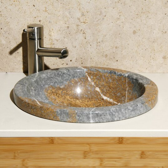 Stone Circular Drop-In Bathroom Sink by Allstone Group