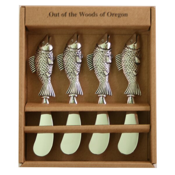 Metal Spreaders Fish Cheese Knife (Set of 4) by Out of the Woods of Oregon