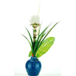 Mixed Tropical Floral Arrangement in Ceramic Vase