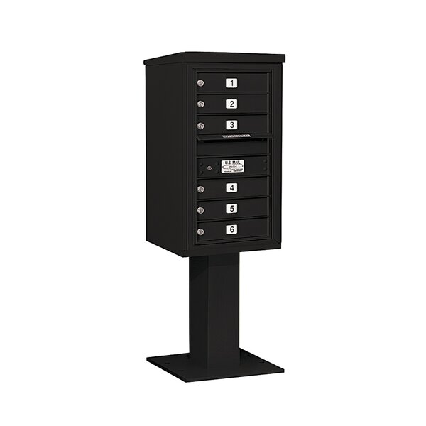 Pedestal Mounted 6 Units 7 Door Front Load 4C Horizontal Cluster Box Unit by Salsbury Industries