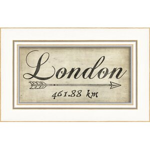 London 461Km Framed Textual Art by The Artwork Factory