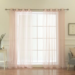 Attell Solid Sheer Grommet Curtain Panels (Set of 2)