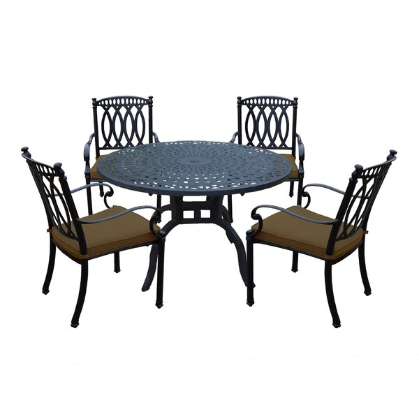 Otsego 5 Piece Aluminum Dining Set with Cushions by Darby Home Co