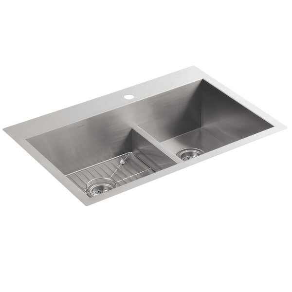 Vault 33 L x 22 W x 9-5/16 Smart Divide Top-Mount/Under-Mount Large/Medium Double-Bowl Kitchen Sink with Single Faucet Hole by Kohler