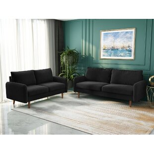 Living Room Sofa Set 2 Piece Modern Microfiber Couch Furniture Upholstered  Sofa Couch And Loveseat by George Oliver