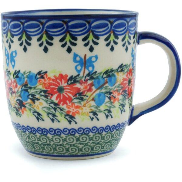 Red Cornflower and Blue Butterflies Coffee Mug by Polmedia