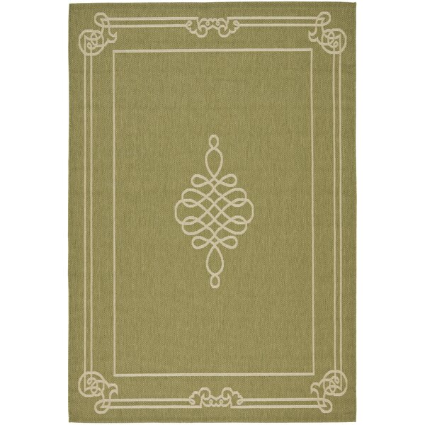 Octavius Green/Creme Indoor/Outdoor Rug by Charlton Home