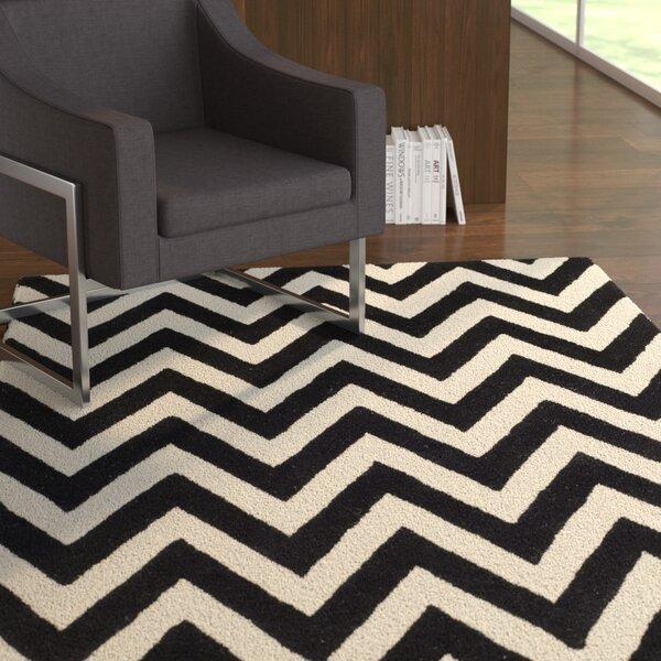 Daveney Hand-Tufted Wool Black/Ivory Area Rug by Ebern Designs