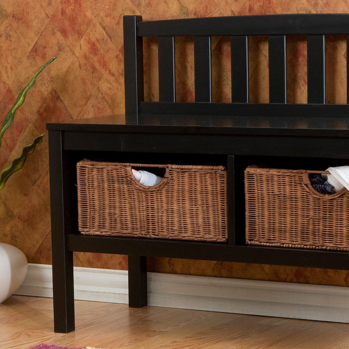 Foyer Bench With Baskets : Beachcrest home offerman wood storage entryway bench with