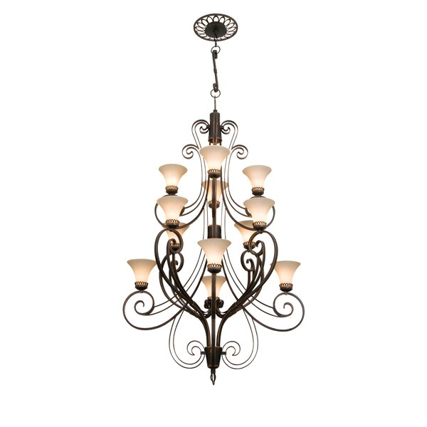 Mirabelle 12-Light Shaded Chandelier by Kalco