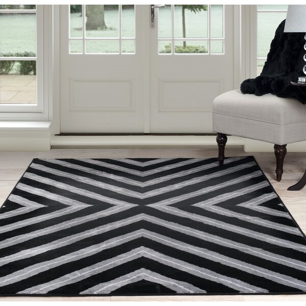 Kaleidoscope Black/Gray Area Rug by Plymouth Home
