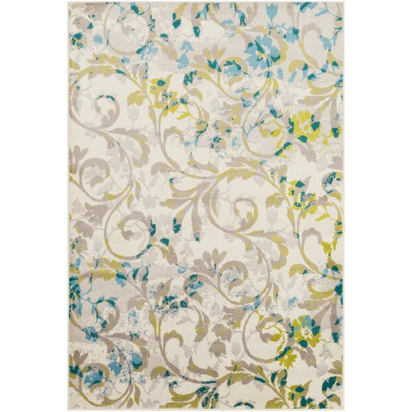 Ramsay Floral Taupe/Lime Area Rug by Bungalow Rose