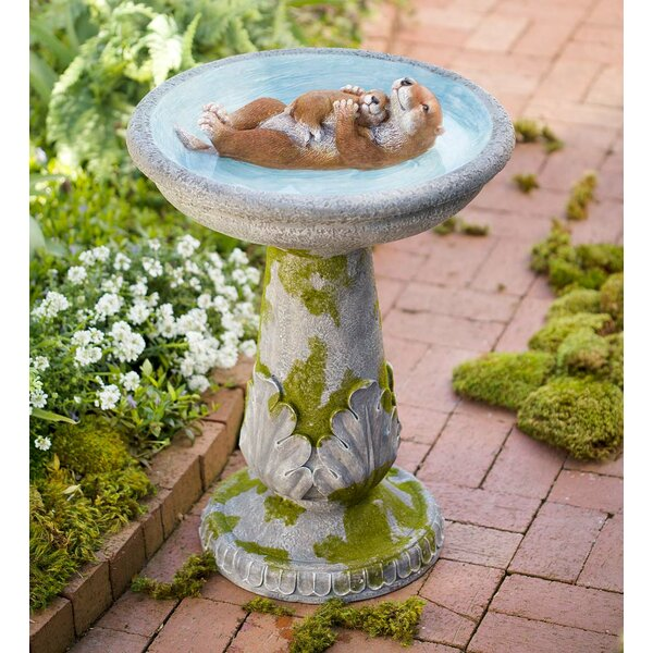 Mama and Baby Otter Birdbath by Wind & Weather