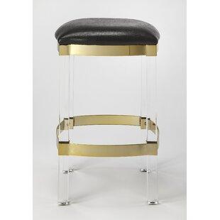 Kye Acrylic and Leather Counter 24'' Bar Stool