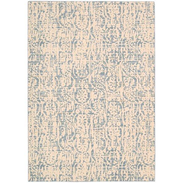 Shaima Ivory/Blue Area Rug by Bungalow Rose