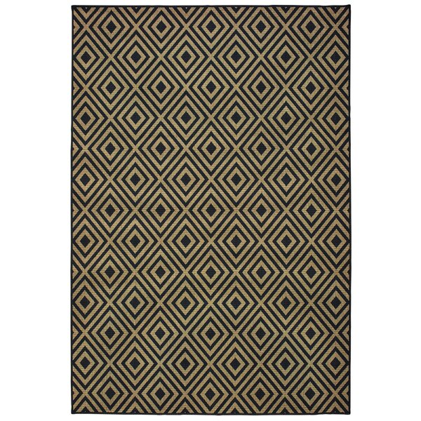 Lipson Diamond Lattice Black/Beige Indoor/Outdoor Area Rug by Wrought Studio