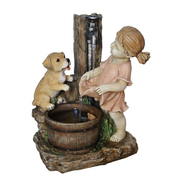 Girl with Dog Spout Bucket Fountain by Benzara
