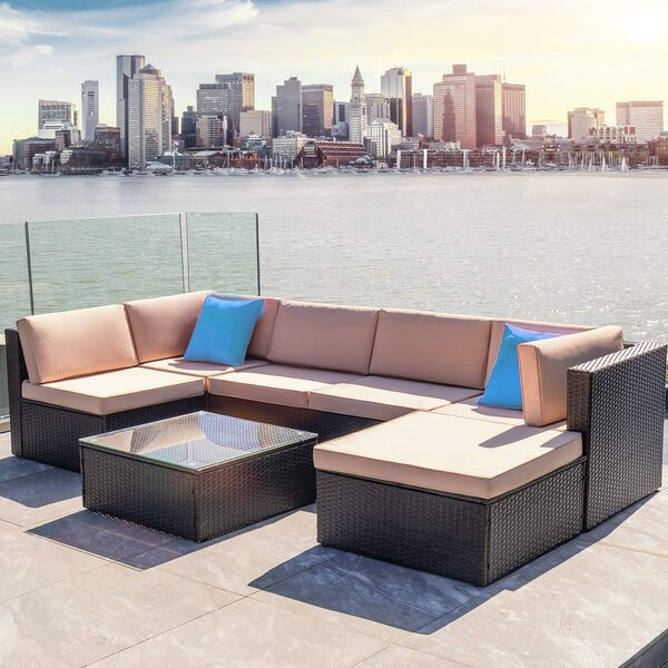 Nia All-Weather 7 Piece Rattan Sectional Seating Group by Bayou Breeze