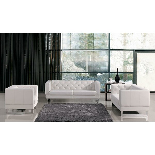 Alsatia 3 Piece Leather Living Room Set by Wade Logan