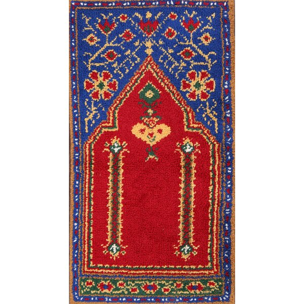 Como Rya Oriental Hand-Knotted Wool Red/Blue Area Rug by Bloomsbury Market