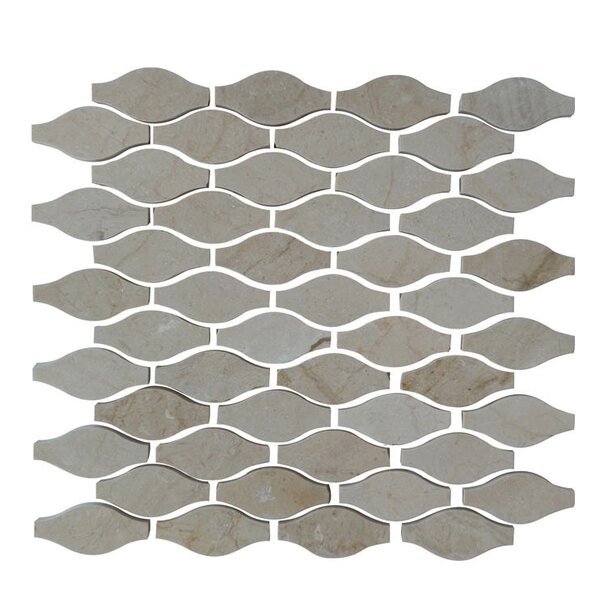 Drops Natural Stone Mosaic Tile in Crema Marfil by QDI Surfaces