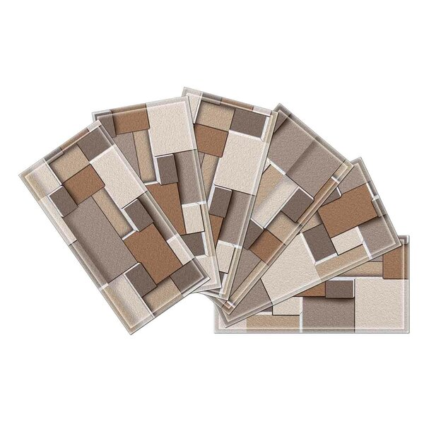 Crystal 3 x 6 Beveled Glass Subway Tile in Brown/Gray by Upscale Designs by EMA