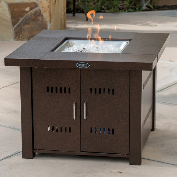Metal Propane Fire Pit Table by Belleze