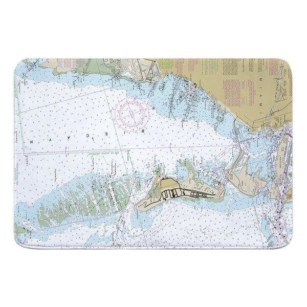 Nautical Chart Key Biscayne FL Rectangle Memory Foam Non-Slip Bath Rug