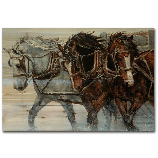 Winter Wind Horses by Chris Cummings Painting Print Plaque by WGI-GALLERY
