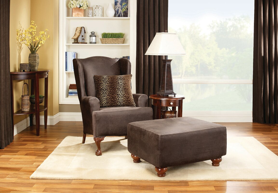 Sure Fit Stretch Leather T Cushion Wingback Slipcover