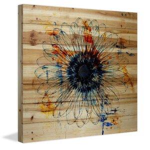 'Stencil Flower' by Parvez Taj Painting Print on Natural Pine Wood by Parvez Taj