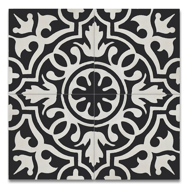 Baha 8 x 8 Handmade Cement Tile in Black/White by Moroccan Mosaic