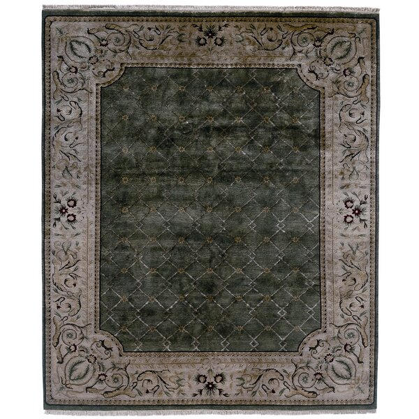 Hand-Knotted Green/Gray Area Rug by Meridian Rugmakers