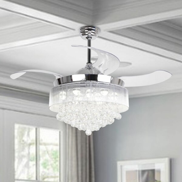 42.5 Broxburne Cool Light 4 Blade LED Ceiling Fan with Remote by House of Hampton